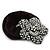 Black Tone Swarovski Crystal 'Flower' Pony Tail Black Hair Scrunchie - Clear - view 3