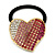 Large Gold Plated Clear and Pink Crystal Heart Pony Tail Hair Elastic/Bobble - view 6