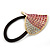 Large Gold Plated Clear and Pink Crystal Heart Pony Tail Hair Elastic/Bobble - view 3
