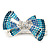 Silver Tone Teal/ Light Blue/ Sky Blue/ Clear Crystal Bow Hair Beak Clip/ Concord Clip - 65cm Length - view 6