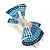 Silver Tone Teal/ Light Blue/ Sky Blue/ Clear Crystal Bow Hair Beak Clip/ Concord Clip - 65cm Length - view 7