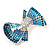 Silver Tone Teal/ Light Blue/ Sky Blue/ Clear Crystal Bow Hair Beak Clip/ Concord Clip - 65cm Length - view 11