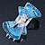 Silver Tone Teal/ Light Blue/ Sky Blue/ Clear Crystal Bow Hair Beak Clip/ Concord Clip - 65cm Length - view 8