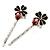 2 Teen Enamel Crystal 'Flower & Ladybug' Hair Grips/ Slides In Rhodium Plating - 50mm Across