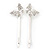 2 Rhodium Plated Clear Crystal Butterfly Hair Grips/ Slides - 55mm Across - view 8
