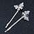 2 Rhodium Plated Clear Crystal Butterfly Hair Grips/ Slides - 55mm Across