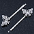 2 Rhodium Plated Clear Crystal Butterfly Hair Grips/ Slides - 55mm Across - view 10