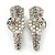 2 Small Rhodium Plated Clear & AB Crystal Heart Hair Beak Clips/ Concord Clips - 35mm Length