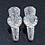 2 Small Rhodium Plated Clear & AB Crystal Heart Hair Beak Clips/ Concord Clips - 35mm Length - view 2
