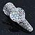 2 Small Rhodium Plated Clear & AB Crystal Heart Hair Beak Clips/ Concord Clips - 35mm Length - view 4