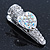 2 Small Rhodium Plated Clear & AB Crystal Heart Hair Beak Clips/ Concord Clips - 35mm Length - view 5
