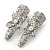 2 Small Rhodium Plated Clear & AB Crystal Butterfly Hair Beak Clips/ Concord Clips - 35mm Length