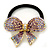 Medium Gold Plated AB/Lavender/Purple Crystal Bow Pony Tail Hair Elastic/Bobble - view 6