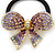Medium Gold Plated AB/Lavender/Purple Crystal Bow Pony Tail Hair Elastic/Bobble - view 2