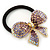 Medium Gold Plated AB/Lavender/Purple Crystal Bow Pony Tail Hair Elastic/Bobble - view 3