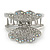 Rhodium Plated AB & Clear Crystal 'Butterfly' Hair Claw - 60mm Across - view 7