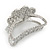Rhodium Plated AB & Clear Crystal 'Butterfly' Hair Claw - 60mm Across - view 8