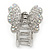 Rhodium Plated AB & Clear Crystal 'Butterfly' Hair Claw - 60mm Across - view 5