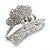 Rhodium Plated AB & Clear Crystal 'Butterfly' Hair Claw - 60mm Across - view 10