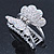 Rhodium Plated AB & Clear Crystal 'Butterfly' Hair Claw - 60mm Across - view 6
