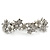 Bridal Wedding Prom Silver Tone Simulated Pearl Diamante Floral Barrette Hair Clip Grip - 80mm Across - view 7
