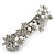 Bridal Wedding Prom Silver Tone Simulated Pearl Diamante Floral Barrette Hair Clip Grip - 80mm Across - view 8