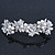 Bridal Wedding Prom Silver Tone Simulated Pearl Diamante Floral Barrette Hair Clip Grip - 80mm Across - view 5