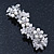 Bridal Wedding Prom Silver Tone Simulated Pearl Diamante Floral Barrette Hair Clip Grip - 80mm Across - view 6