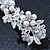 Bridal Wedding Prom Silver Tone Simulated Pearl Diamante Floral Barrette Hair Clip Grip - 80mm Across - view 4