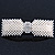 Bridal Wedding Prom Silver Tone Crystal Simulated Pearl 'Bow' Barrette Hair Clip Grip - 90mm Across