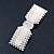 Bridal Wedding Prom Silver Tone Crystal Simulated Pearl 'Bow' Barrette Hair Clip Grip - 90mm Across - view 8