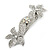 Bridal Wedding Prom Silver Tone Diamante 'Double Flower' Barrette Hair Clip Grip - 90mm Across