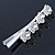 Bridal/ Prom/ Wedding Silver Tone Clear Crystal, Simulated Glass Pearl Lily Hair Beak Clip/ Concord Clip - 12cm Length - view 5