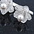 Bridal/ Prom/ Wedding Silver Tone Clear Crystal, Simulated Glass Pearl Lily Hair Beak Clip/ Concord Clip - 12cm Length - view 2