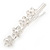 Bridal/ Prom/ Wedding Silver Tone Clear Crystal, Simulated Glass Pearl Lily Hair Beak Clip/ Concord Clip - 12cm Length - view 6