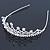 Bridal/ Wedding/ Prom Rhodium Plated Faux Pearl, Austrian Crystal Royal Style Tiara - view 9