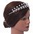 Bridal/ Wedding/ Prom Rhodium Plated Clear Crystal, White Simulated Pearl Floral Tiara Headband - view 3