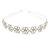 Bridal/ Wedding/ Prom Rhodium Plated Clear Crystal Floral Tiara Headband - view 7