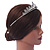 Bridal/ Wedding/ Prom Rhodium Plated Clear Crystal, White Simulated Glass Pearl Tiara Headband - view 3