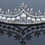 Bridal/ Wedding/ Prom Rhodium Plated Clear Crystal, White Simulated Glass Pearl Tiara Headband - view 4