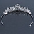 Bridal/ Wedding/ Prom Rhodium Plated Clear Crystal, White Simulated Glass Pearl Tiara Headband - view 7