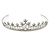 Bridal/ Wedding/ Prom Rhodium Plated Clear Crystal, White Simulated Glass Pearl Tiara Headband - view 9