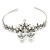 Bridal/ Wedding/ Prom Rhodium Plated Clear Crystal, Simulated Pearl Princess Classic Tiara And Matching Earrings