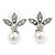 Bridal/ Wedding/ Prom Rhodium Plated Clear Crystal, Simulated Pearl Princess Classic Tiara And Matching Earrings - view 5