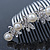 Bridal/ Wedding/ Prom/ Party Rhodium Plated Austrian Crystal Butterfly & Simulated Pearl Hair Comb/ Tiara - 10cm - view 2