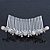 Bridal/ Wedding/ Prom/ Party Rhodium Plated Austrian Crystal Butterfly & Simulated Pearl Hair Comb/ Tiara - 10cm - view 5