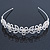 Bridal/ Wedding/ Prom Rhodium Plated Faux Pearl, Crystal Flowers & Leaves Tiara Headband