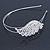 Bridal/ Wedding/ Prom Rhodium Plated White Faux Pearl, Crystal Leaf Tiara Headband