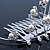 Bridal/ Wedding/ Prom/ Party Rhodium Plated White Simulated Pearl Bead and Swarovski Crystal Mini Hair Comb Tiara - 75mm - view 4