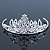 Princess Style Bridal/ Wedding/ Prom/ Party Rhodium Plated Swarovski Crystal Mini Hair Comb Tiara - 60mm - view 1
